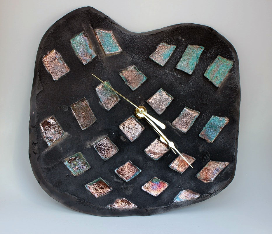 Raku turquoise and copper with texture